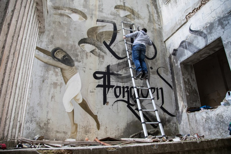 Unforgiven simon silaidis urban calligraphy 04 800x533 The Unforgiven Latest Mural